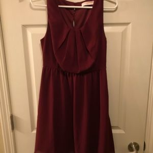 Maroon Dress with Botton Up Back
